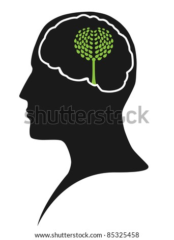 Think green – human mind - stock photo