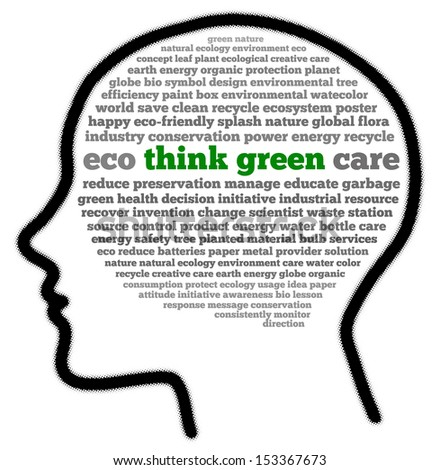 Think green in head shape words cloud - stock photo