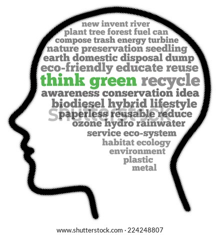 Think green in words cloud - stock photo