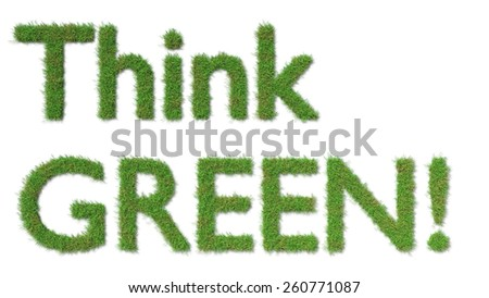 think green sign on grass - ecology concept - stock photo