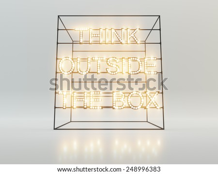Think outside the box concept. 3d rendering - stock photo