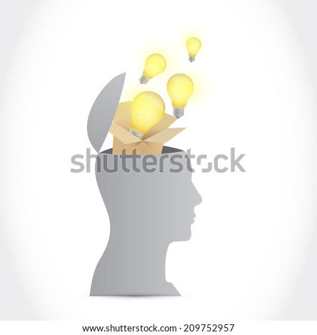 think outside the box head concept. illustration design over a white background - stock photo