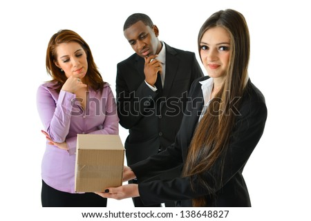 Think Outside the Box (looking at box) - stock photo