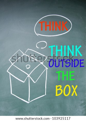 think outside the box symbol - stock photo