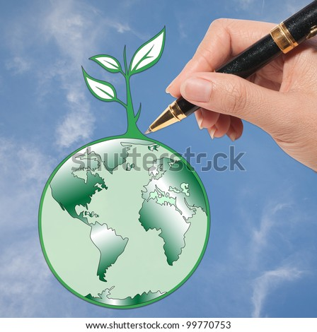 Think to save the world: Earth day - stock photo