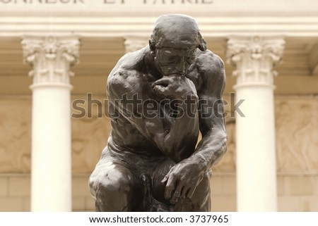 Thinker Close up by Rodin - stock photo