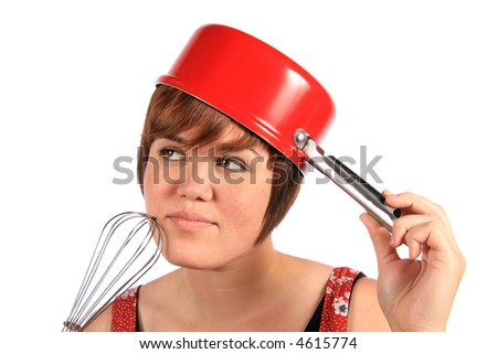 Thinking about cooking - stock photo