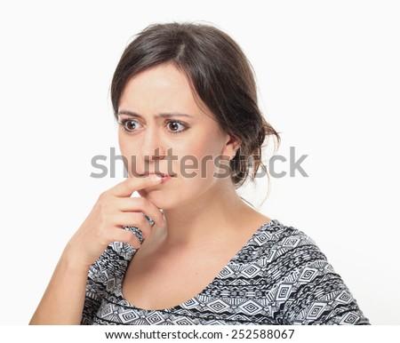 Thinking Beautiful Young Woman. - stock photo