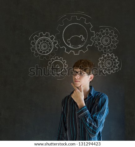 Thinking business man turning gear cogs and running hamster - stock photo