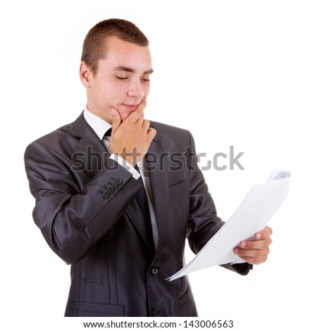 Thinking business man with paper isolated on a white - stock photo