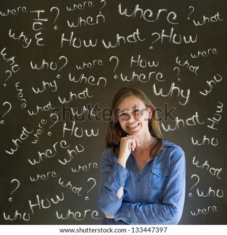 Thinking business woman, student or teacher asking what why when were who and how questions on  blackboard background - stock photo