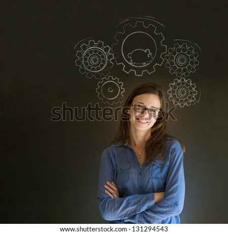Thinking business woman turning gear cogs and running hamster - stock photo