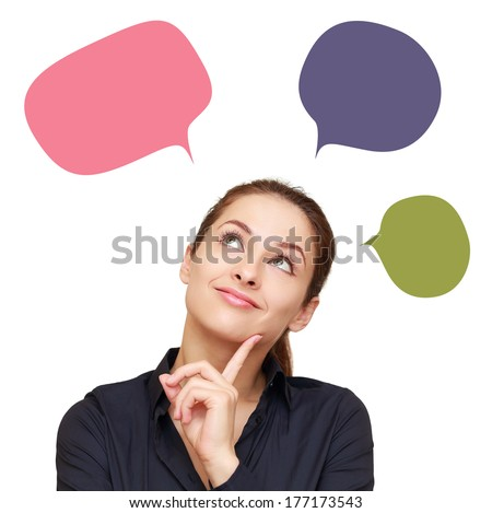 Thinking business woman with message colorful balloons above isolated - stock photo