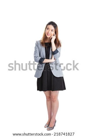 Thinking business xwoman standing pensive contemplating looking up for inspiration. Beautiful multi-racial Caucasian / Asian businesswoman isolated on white background in full body. - stock photo