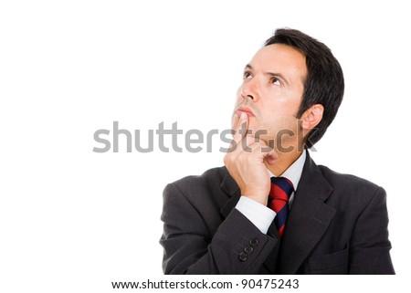 Thinking businessman against white background - stock photo
