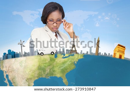 Thinking businesswoman against bright blue sky - stock photo