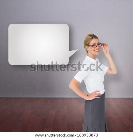 Thinking businesswoman against speech bubble - stock photo