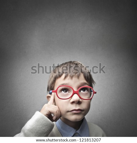 Thinking child - stock photo