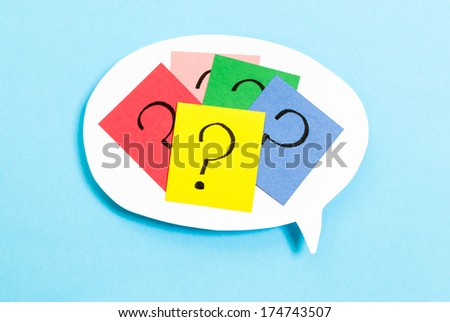 Thinking concept with question mark on blue background - stock photo