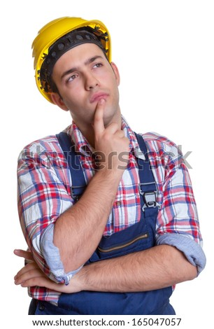 Thinking construction worker - stock photo