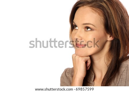 Thinking happy thoughts - stock photo