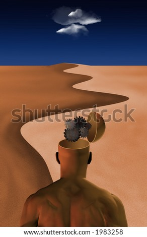 Thinking Man: Inside thinking man's opened mind in desert - stock photo
