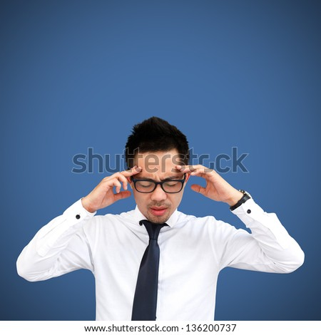 Thinking man isolated on blue background - stock photo