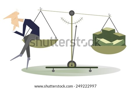 Thinking man sitting on the scale and turns ideas into money - stock photo