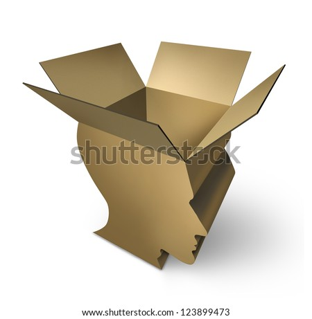 Thinking out of the box with an open three dimensional cardboard packaging in the shape of a human head as a symbol of brain intelligence and having an open mind for innovation and solutions. - stock photo