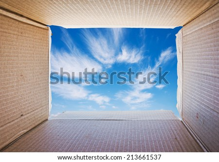 Thinking outside the box, Concept image about freedom of mind. - stock photo
