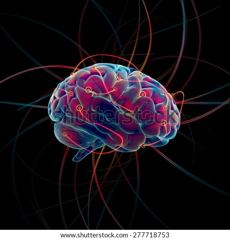 Thinking process of the brain concept - stock photo
