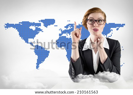 Thinking redhead businesswoman against blue world map on white background - stock photo