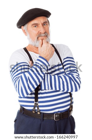 Thinking senior man - stock photo