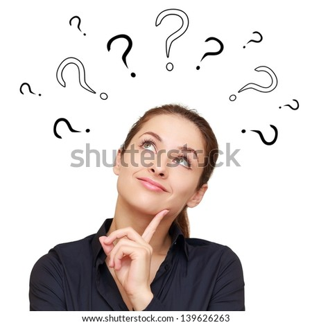 Thinking smiling woman with questions mark above head looking up isolated on white background - stock photo