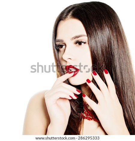 Thinking Woman Fashion Model. Makeup and Healthy Dark Hairstyle - stock photo