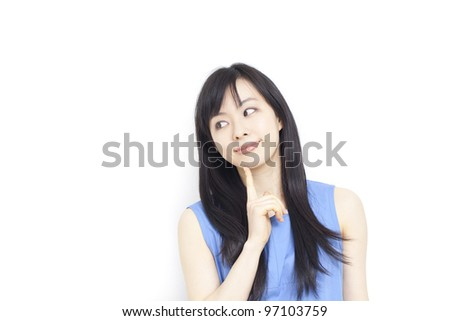 thinking woman isolated on white background - stock photo
