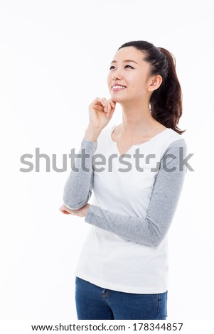 Thinking young Asian woman isolated on white background - stock photo