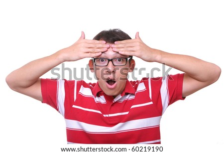thinking young man who realized an idea in red - stock photo