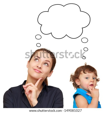 Thinking young woman and cute child concept with bubble above isolated on white background - stock photo