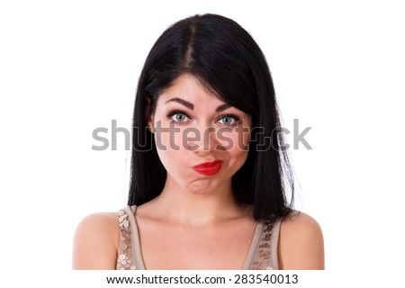 Thinking young woman isolated over white background - stock photo