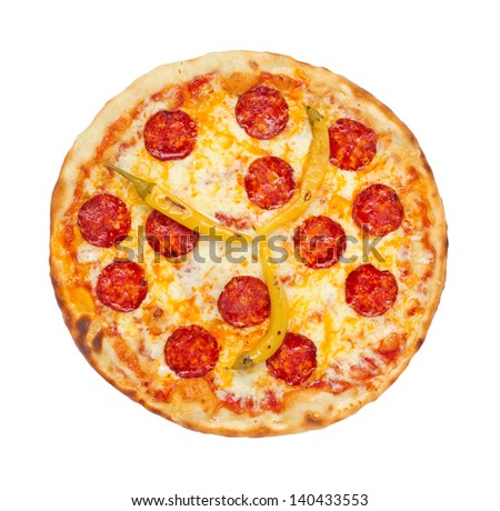 Thinly sliced pepperoni is a popular pizza topping in American-style pizzerias - stock photo