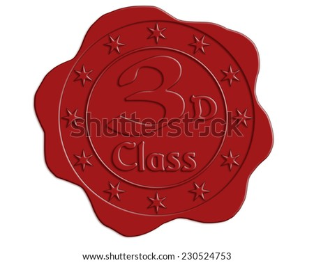 Third Class Red Wax Seal with Stars - stock photo