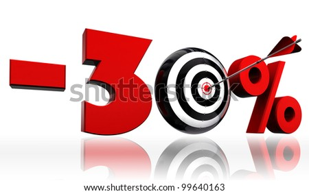 thirty per cent 30% red discount symbol with conceptual target and arrow on white background.clipping path included - stock photo