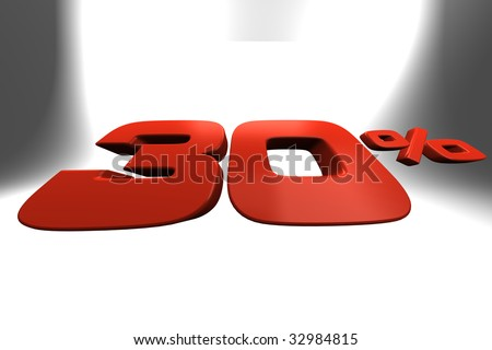 Thirty percent 3D banner ideal for illustrate sale periods - stock photo