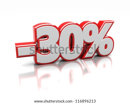 Thirty  percent isolated on a white background, 3d image - stock photo