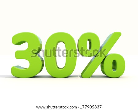 Thirty percent off. Discount 30%. 3D illustration. - stock photo