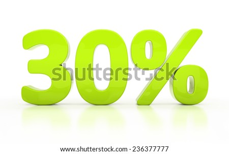 Thirty percent off. Discount 30.  Percentage. 3D illustration isolated on white - stock photo