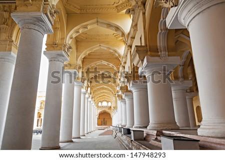 Thirumalai Nayak Palace in Madurai city, India - stock photo