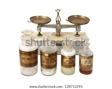 This are true pharmaceutical objects and medicinal drugs used before and after 1900���«s year. - stock photo