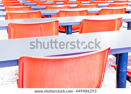 This auditorium is in the university whit red chairs - stock photo